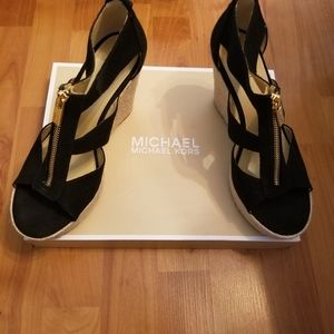 Michael Kors black heeled wedges size 8